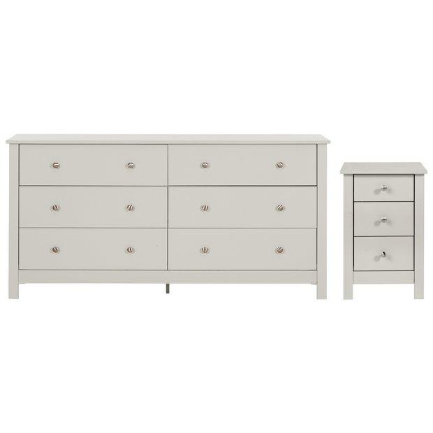 Buy Habitat Osaka Bedside 3 3 Drawer Chest Set Soft Grey Bedroom Furniture Sets Argos