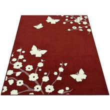 Maestro Butterfly and Floral Rug - 120x170cm - Red