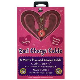 Dual Play & Charge 4m Cable with Unicorn Charm - Pink