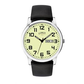 Limit Mens Silver Glow Day Faux Leather Black Strap Watch