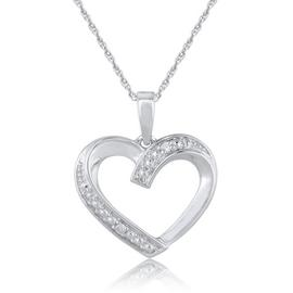 Revere Sterling Silver Diamond Heart Open 18 Inch Pendant