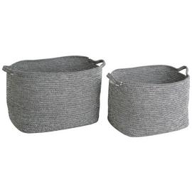 Habitat Salvador 2 Storage Baskets - Black & White