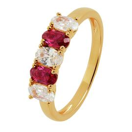 Revere Gold Plated Silver Cubic Zirconia 5 Stone Ring