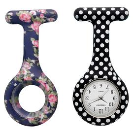 Constant Nurses' Polka Dot and Blue Floral FOB Watch