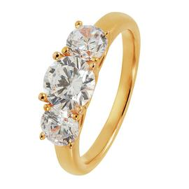 Revere 9ct Gold Plated Round Cubic Zirconia 3 Stone Ring