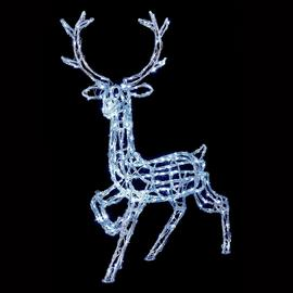 Premier Decorations 1m Acrylic Standing Reindeer LED - White