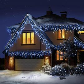 Premier Decorations 720 LED Snowing Icicles - Blue & White