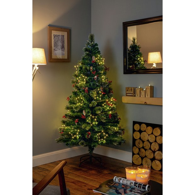 4 Ft Christmas Tree.Buy Premier Decorations 4ft White Led Snow Tipped Tree Green Artificial Christmas Trees Argos