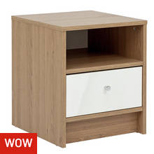 HOME Malibu 1 Drawer Bedside Chest - White Gloss & Oak Eff