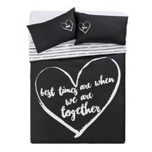HOME Love Therapy Black Bedding Set - Double