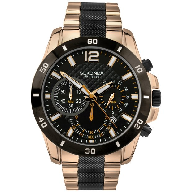 buy sekonda men s watches at argos co uk your online shop for more details on sekonda men s black and rose gold plated chronograph watch