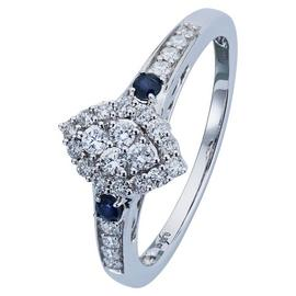 Revere 9ct White Gold Sapphire and 0.33ct tw Diamond Ring