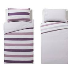 HOME Plum Stripe Twin Pack Bedding Set - Single