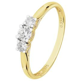 Revere 9ct Yellow Gold 0.33ct tw Diamond Trilogy Ring