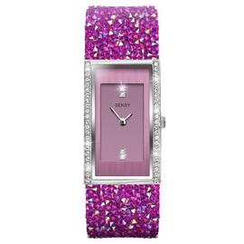 Seksy by Sekonda Ladies Pink Crystal Leather Strap Watch