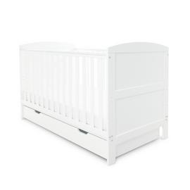 Babyhoot Coleby Cot Bed and Under Drawer - White