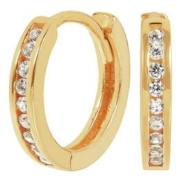 Revere 9ct Gold Plated Cubic Zirconia Hoop Earrings