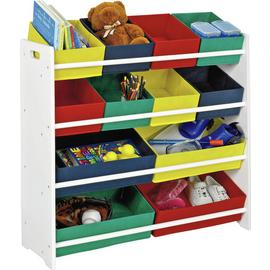 White 4 Tier Kids Storage Unit with Bins