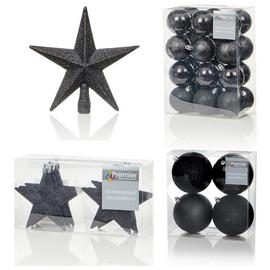 Premier Decorations 35 Piece Luxury Decorations Set - Black