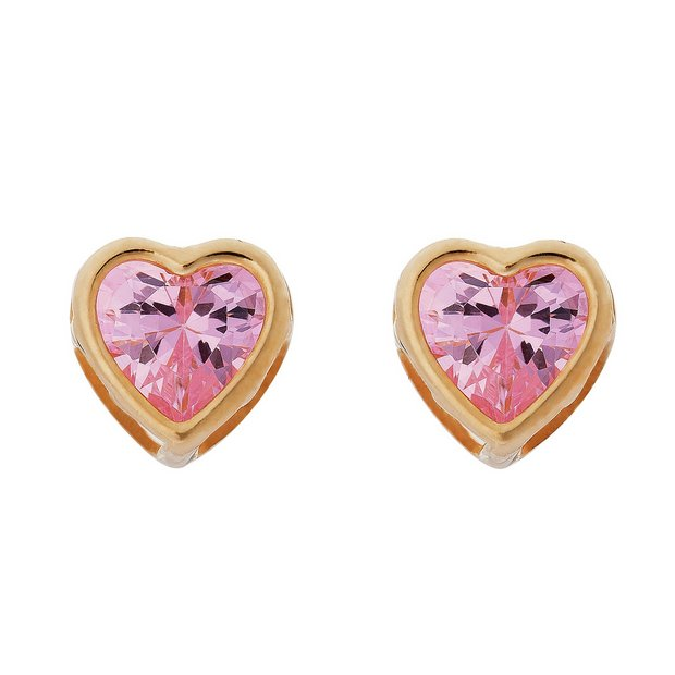 ee0b03c783314 Buy Revere Kid's 9ct Yellow Gold Pink CZ Heart Stud Earrings | Kids  earrings | Argos