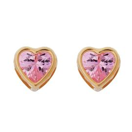 Revere Kid's 9ct Yellow Gold Pink CZ Heart Stud Earrings