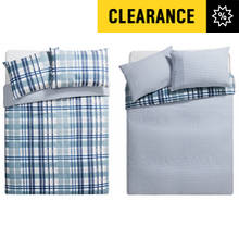 HOME Blue Check Twin Pack Bedding Set - Double