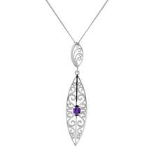 Revere Silver Amethyst Filigree Pendant 18inch Necklace