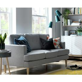 Argos Home Joshua 3 Seater Fabric Sofa - Light Grey