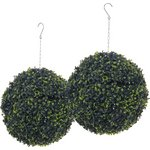 more details on Artificial Twin Pack Topiary Grass Balls - 28cm.