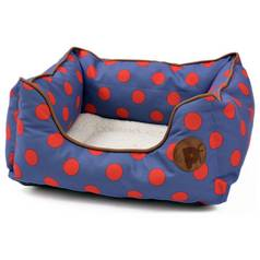 Petface Blue Spots Square Bed - Small
