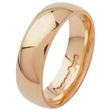 Revere 9ct Gold Plain D-Shape Wedding Ring - 6mm