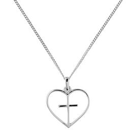 Revere Silver Cross Heart Pendant 18 Inch Necklace