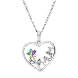 Moon & Back Silver Heart 'Mum' Pendant Necklace
