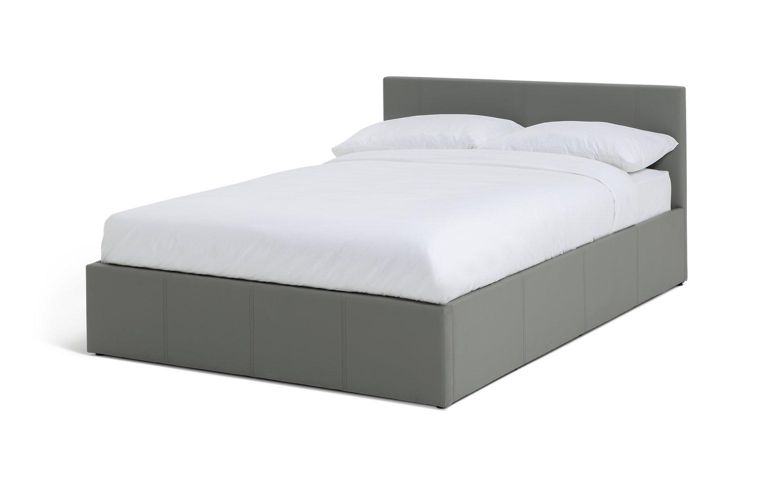 faux leather ottoman. Hygena Lavendon Double Faux Leather Ottoman Bed Frame - Grey