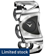 Seksy Ladies' 4117 Black Dial Stone Set Bracelet Watch