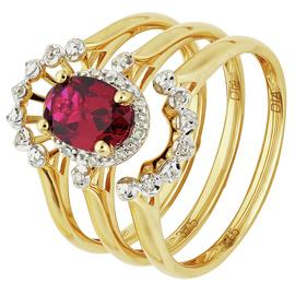 Revere 9ct Yellow Gold Ruby & Diamond Bridal Ring Set