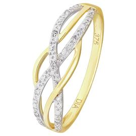 Revere 9ct Yellow Gold Diamond Accent Crossover Ring