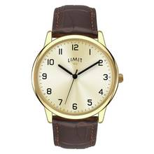 Limit Men's Gold Plated Brown Strap Watch