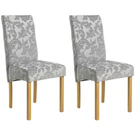 Argos Home Pair of Fabric Skirted Chairs - Grey Damask