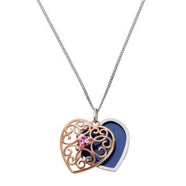 Moon & Back Rose Gold Plated Heart Locket 18 Inch Necklace