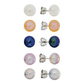 Revere Sterling Silver Set of 5 Pearl Stud Earrings