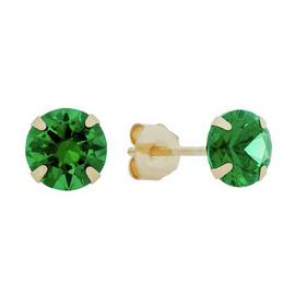 Revere 9ct Yellow Gold Created Emerald May Stud Earrings