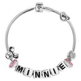 0c92cdb91 Disney Minnie Mouse Pink Crystal Made Up Charm Bracelet