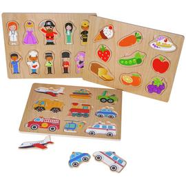 Chad Valley PlaySmart Wooden Puzzles - 3 Pack