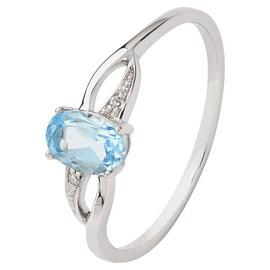 Revere 9ct White Gold Blue Topaz and Diamond Twist Ring