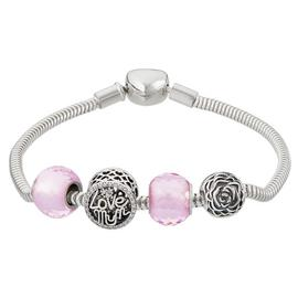 Moon & Back Sterling Silver Pink Made Up Charm Bracelet