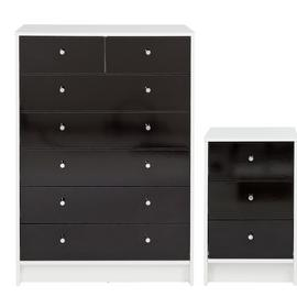 Argos Home Malibu Gloss Bedside Table & 5+2 Drawer Chest Set