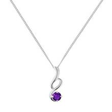 Revere Silver Amethyst Twist Pendant 18inch Necklace