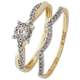 Revere 9ct Yellow Gold 0.35ct tw Diamond Bridal Ring Set