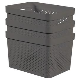 Curver Infinity Dots Set of 3 17 Litre Storage Boxes - Grey